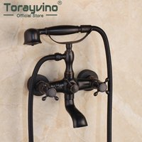 Wholesale ceramic telephones resale online - ORB Solid Brass Telephone Shape Bathroom Shower Faucet Black Wall Mounted Bathroom Bathtub Mix Tap Faucet