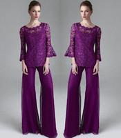 anne damat elbiseler takım elbiseleri toptan satış-Klas Mor Dantel Anne Gelin Pant Suits Sheer Jewel Boyun Uzun Kollu Düğün Konuk Elbise Artı Boyutu Şifon Anneler Damat Elbiseler