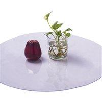 tela blanca transparente al por mayor-Ronda de PVC Mantel Mantel impermeable transparente patrón de la cubierta de tabla Estera de la cocina del aceite suave tela de vidrio Mantel