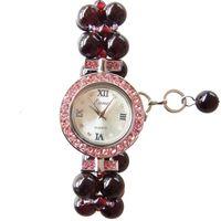 ingrosso orologi naturali-Cinturino dell'orologio di granato naturale del quadrante rotondo 2019 cinturino in oro rosso