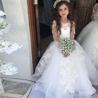 Wholesale long christening gowns for baby girls for sale - Group buy 2020 New Princess Flower Girl Dresses For Weddings Jewel Neck Lace Appliques Puffy Illusion Little Kids Baby Gowns First Communion Dresses