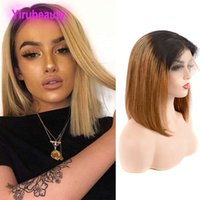 Wholesale bob ombre hair resale online - Brazilian Virgin Hair B Ombre Human Hair Lace Front Bob Wig Straight b Two Tones Color inch