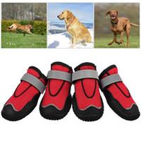 ayakkabı tek koruyucusu toptan satış-Üst Köpek Yürüyüş Botları, 4 Köpek Ayakkabı Koruyucu Seti, Yürüyüş için Nefes Dog Boots, Walking Kaymaz Sole 2 #