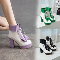 botas de tacón lindo al por mayor-YMECHIC Fashion 2019 Winter Lolita Shoes Lace Up Tacones altos Plataformas Cute Bow Sweet Pink Purple Green Yellow Botines Mujer