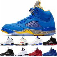 Wholesale metallic blue high boots resale online - High Quality s Men Basketball Shoes Bred Laney Blue International Flight Suede White Cement OG Metallic Black Designer Size