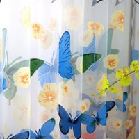 Wholesale butterfly window decor resale online - 100 cm Rod Offset Printing Butterfly Screen Window Curtain Translucidus Tulle Butterfly Pattern Tulle Curtain Home Decor