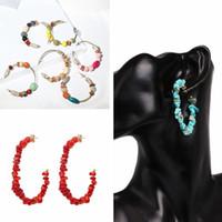 Wholesale vintage bohemian jewelry resale online - Boho Hanging Drops Earring Vintage Women Natural Stone Dangle Earrings Ethnic Wooden Bead Earring Lady Jewelry TTA1147