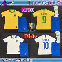 camisetas de fútbol americano para niños al por mayor-Equipo para niños adultos 19 20 Jersey de fútbol de la Copa Americana de Brasil G.JESUS 2019 2020 COUTINHO FIRMINO MARCELO hombres jóvenes camisetas de fútbol Brasil