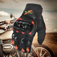 motosiklet eldivenleri kırmızı toptan satış-Yeni Varış SKYBIKER Moda Tam Parmak Motosiklet Eldiven Açık Spor Sürme Kırmızı-Turuncu Moto Koruyucu Gears Eldiven Erkekler için