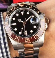 золотая черная керамическая окантовка часов оптовых-Новая модель Керамическая рамка из нержавеющей стали с ремешком GMT II Cerachrom Black - коричневая рамка 40 мм Автоматические розовые золотые мужские часы
