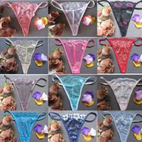 kadın tangaları toptan satış-En Yeni Kadınlar Dantel Şeffaf Külot Lady Moda Tangas G-String Thongs İç T-pantolon İç Külot rastgele renk RRA1350