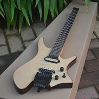 Wholesale headless guitar resale online - New Fanned Fret Headless Electric Guitar With Mahogany Body In Natural A Bridge