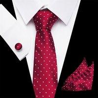 kravat seti hırka kol düğmesi toptan satış-2019 Mans Kravat Polka dotFloral 100% Ipek Jakarlı Kravat Gravata Corbatas Hanky Kol Düğmeleri Erkekler Örgün Düğün için Kravat Set