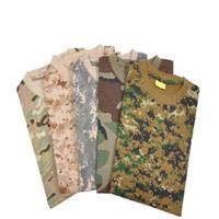 Wholesale tactical camo shirt resale online - 2015 New arrival Short Sleeve T Shirt For Men Tactical Camouflage T Shirt Woodland Camo
