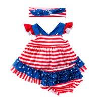 üç parça şort toptan satış-Kızlar Tulum Giyim Setleri Çizgili Kat Şort Üç Parçalı Takım Amerikan Bayrağı Bağımsızlık Ulusal Gün Çizgili Baskılı Yay Bandı