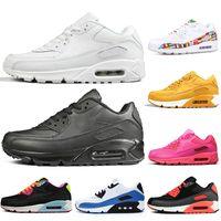 siyah pembe kadın üstleri toptan satış-Nike 90 Air Max 90 VM Üst Marka 90 90 s Ayakkabı Mens Eğitmenler Deisgner Sneakers Bayan Run Ayakkabı Pembe Oreo Klasik Üçlü Beyaz Siyah Koşu Yürüyüş Tenis Kapalı 36-45