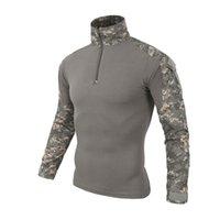 ordu kamuflajı üniformalı erkekler toptan satış-Multicam Üniforma Uzun Kollu T Gömlek Erkekler Kamuflaj Ordu Savaş Gömlek Paintball Giyim Taktik