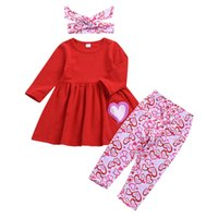 Wholesale lovely long pants for sale - Group buy Valentine s Day Girls Chothing Set Long Sleeve Dress Top Love Heart Print Pants Lovely Bow Headbands set Kids Boutique Outfits M981