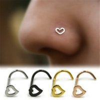Wholesale rings for nose resale online - Love Heart Stainless Steel Nose Rings Body Piercing Jewelry Bent Angle Nose Rings Studs Punk Jewelry for Men Women DHL
