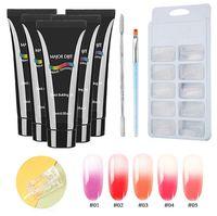 kit de gelatina al por mayor-9 unids / set Generador Extendiendo Crystal Jelly Gum Poly Gel Set Kit Uv Gel French Nails Art Manicure Hard Jelly Gel Kit de Arte