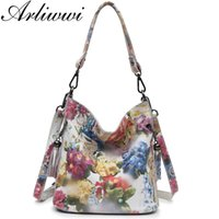 Wholesale shiny leather handbags resale online - Arliwwi Brand High Class Shiny Floral REAL LEATHER Women Handbags Bags Fashion New Genuine Cow Leather Blossom Designer Bag MX191018