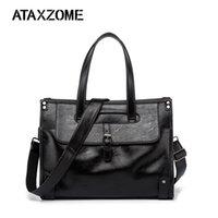 ingrosso cinghie da cartella-ATAXZOME valigetta da uomo di alta qualità in pelle PU marchio di moda borsa tracolla grande capacità lavoro portatile borsa DS4007B # 489741