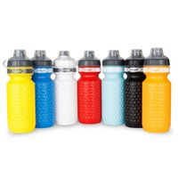 Wholesale carbon road cycling resale online - 600ml Cycling Water Bottle Plastic Bike Kettle Riding Sports Mountain Road Bike Cup Portable With Dustproof Cover
