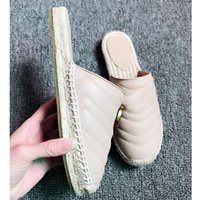modelle flip flops großhandel-2019 Neueste Frauen Slipper Echtes Leder Espadrille mit Doppel Marke 4 Farbe Größe 35-41 Modell 110326