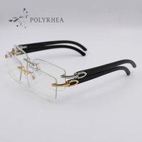 Black Buffalo Horn Frames Gold Rimless Optical Sunglasses Men Women Brand Designer Glasses Carving Eyewear With Box And Cases