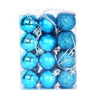 árvore de natal decoração azul venda por atacado-Hot 24 Pçs / lote 3 cm Bola de Natal Pendurado Enfeites de Baubles Para A Decoração Da Árvore de Natal Transporte da gota - Lago Azul