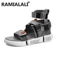 botas abiertas de la plataforma del dedo del pie al por mayor-Nueva moda de verano zapatos para hombre sandalias de gladiador plataforma de punta abierta sandalias de playa botas estilo romano negro lienzo hombres