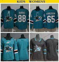 88 jersey de hockey para jóvenes al por mayor-2019 Juvenil San Jose Sharks 65 Erik Karlsson 8 Joe Pavelski 88 Brent Burns Jerseys Kids Womens Home Jersey de hockey cosido en negro