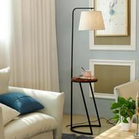 piso de led para casa al por mayor-Moderno piso de madera luz para sala de estar Loft lámpara de pie pantalla de tela decoración de la iluminación del hogar Fixtrues hierro blanco E27 110-240V