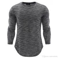 Wholesale korea fashion clothing men resale online - Men Knitted Tshirts Autumn Winter Slim Long Grey Tops Korea Style Fashion Tees Clothing