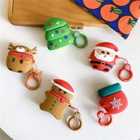estuche de auriculares de apple al por mayor-Funda de auriculares de Navidad de dibujos animados para Apple Airpods 1 2 Cubierta de auriculares de protección de silicona 160 unids / lote