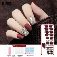 Wholesale false nails designed pink resale online - DUESI Set Reusable False Nails With Design Art Tips Full Cover Matte Rhinestone Press On Fake Nails With Jelly Glue