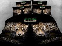 leopar nevresim takımı seti toptan satış-Leopar Yatak seti Lüks Yorgan yatak örtüsü çarşaf çarşaf nevresim Hayvan baskı Süper Kral Kraliçe boyutu tam ikiz 5 ADET