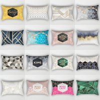 Wholesale blue plaid pillows resale online - King Boss Lady Pillow Case Square Polyester Peach Skin Pillow Covers Blue Gray Car Office Sofa Pillow Cover mdbD1