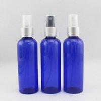 ingrosso gli ugelli della bottiglia di profumo-100 ml x 50 blu rotondo PET bottiglie spray di profumo 100cc ugello spruzzatore anodizzato pompa cosmetici spray bottiglie di nebulizzazione contenitore di plastica