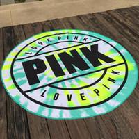ingrosso tovagliolo di yoga rosa-Love Pink Asciugamani Asciugamano da bagno in microfibra Tondo Asciugamano da bagno per donna Bikini Cover Up Tovaglia stampata Tappetino da picnic Tappeto Yoga 160 cm YW864-2
