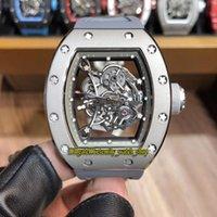 japão relógios mecânicos venda por atacado-13 cores de alta qualidade RM055 Esqueleto Dial Japão Miyota automático RM Mecânica 055 Mens Watch prateadas Caixa cinzenta de borracha Correia Desporto Relógios