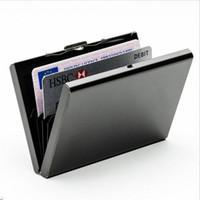 держатель визитной карточки женщин из нержавеющей стали оптовых-Men Women Card Holder Stainless Steel Silver Metal Case  Business New