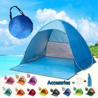hasta carpas al por mayor-Tienda de campaña en la playa Pop Up Tiendas de campaña en la playa Cabaña instantánea para el sol Refugio plegable Muebles de jardín Herramientas para acampar al aire libre 36 colores MMA2127