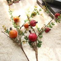 Wholesale pomegranate decoration fruit resale online - artificial fruit tree branches artificial pomegranate fruit branch berry simulation flower home decoration wedding fake flower EEA407
