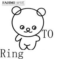 resimler yüzüküyor toptan satış-FAHMI 100% 925 Ayar Gümüş Klasik Sevimli Ayı Yüzükler Yüksek Kalite Orijinal Takı Ihtiyaçları Gerçek Resimler Iletişim Müşteri Hizmetleri
