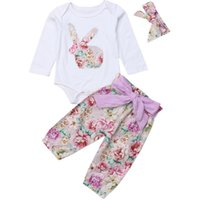 Wholesale boutique easter clothing online - Easter Baby girls outfits Toddler Rabbit print Tops Floral pants with headband set Spring Autumn Boutique kids Clothing Sets C6100