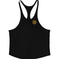 camisas de hombres correas al por mayor-INS 2019 Trend LOGO Hombres gimnasio delgado hombro correa algodón puro sin mangas camiseta dorado chaleco deportivo GYM