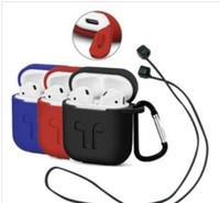 étui étanche iphone achat en gros de-2019 Airpod Protective Airpods Câble de liaison couverture Bluetooth Etui en silicone pour écouteurs sans fil Étanche Anti-goutte Sangle Accessoires mélanger la couleur