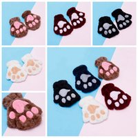 Wholesale cute winter mittens resale online - Children Fluffy Plush Gloves Fashion Girl Winter Mittens Paws Gloves Stage Perform Prop Cute Cat Claw Glove Gifts RRA2232