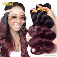 Wholesale two tone hair weave sale resale online - On Sale Ombre Hair Bundles Brazilian Virgin Hair Body Wave Bundles Ombre Human Hair Weave Two Tone b Burgundy Ombre Brazilian
